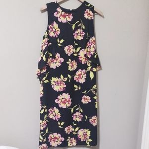 Who What Wear Black Floral Ruffle Midi Dress